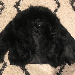 BEBE cropped faux fur jacket